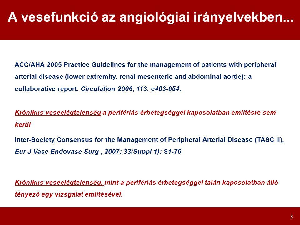 3 A vesefunkció az angiológiai irányelvekben...