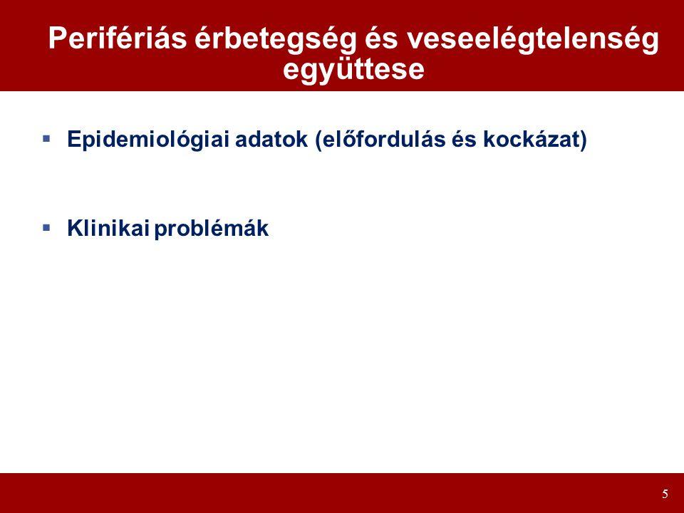 5 Perifériás érbetegség és veseelégtelenség együttese  Epidemiológiai adatok (előfordulás és kockázat)  Klinikai problémák