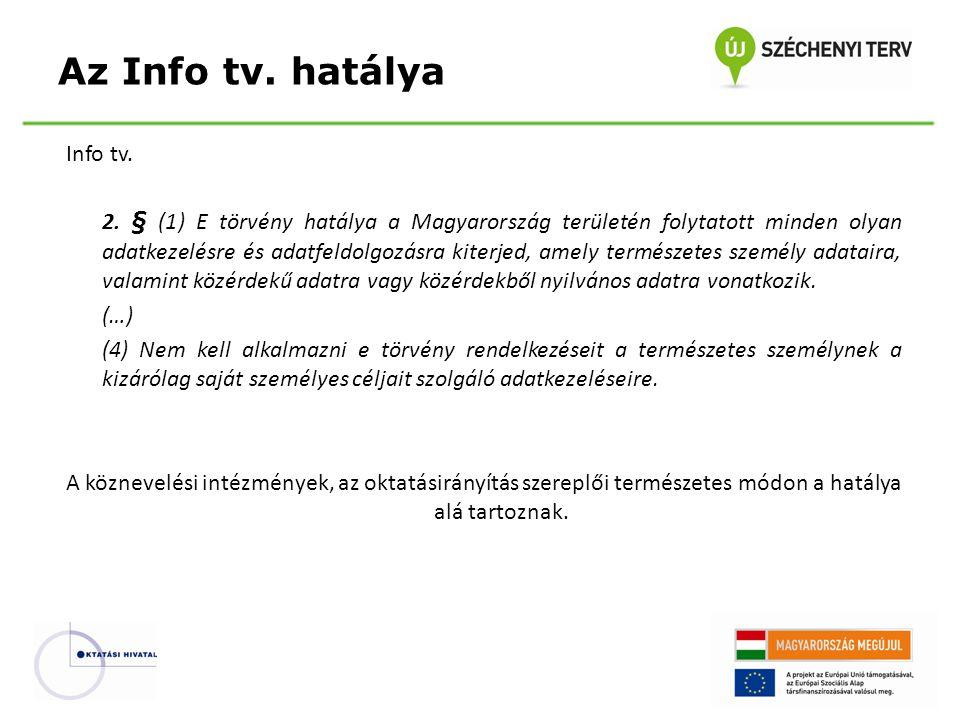 Info tv. 2. § (1) E törvény hatálya a Magyarország területén folytatott minden olyan adatkezelésre és adatfeldolgozásra kiterjed, amely természetes sz