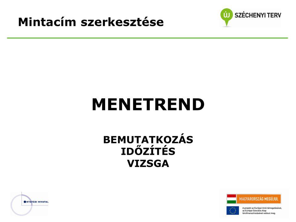 Mintacím szerkesztése MENETREND BEMUTATKOZÁS IDŐZÍTÉS VIZSGA