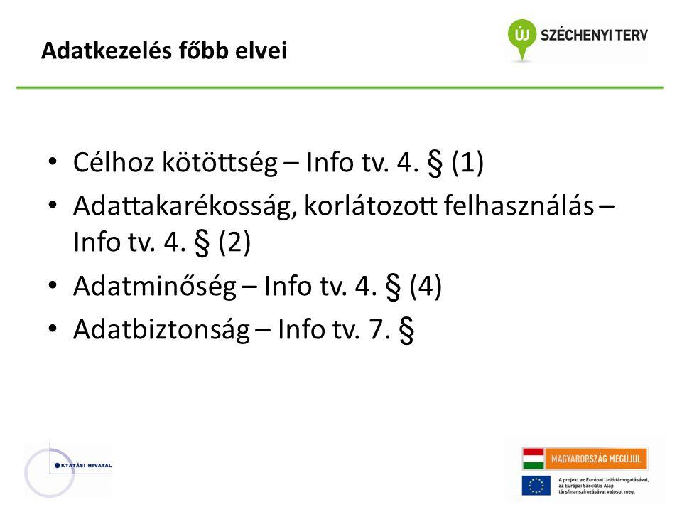 Célhoz kötöttség – Info tv. 4. § (1) Adattakarékosság, korlátozott felhasználás – Info tv. 4. § (2) Adatminőség – Info tv. 4. § (4) Adatbiztonság – In
