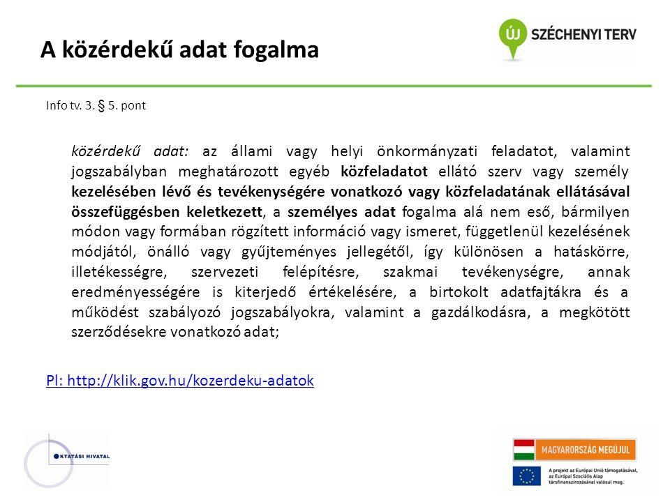 Info tv. 3. § 5. pont közérdekű adat: az állami vagy helyi önkormányzati feladatot, valamint jogszabályban meghatározott egyéb közfeladatot ellátó sze