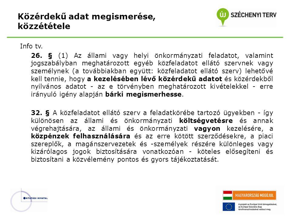Info tv. 26. § (1) Az állami vagy helyi önkormányzati feladatot, valamint jogszabályban meghatározott egyéb közfeladatot ellátó szervnek vagy személyn