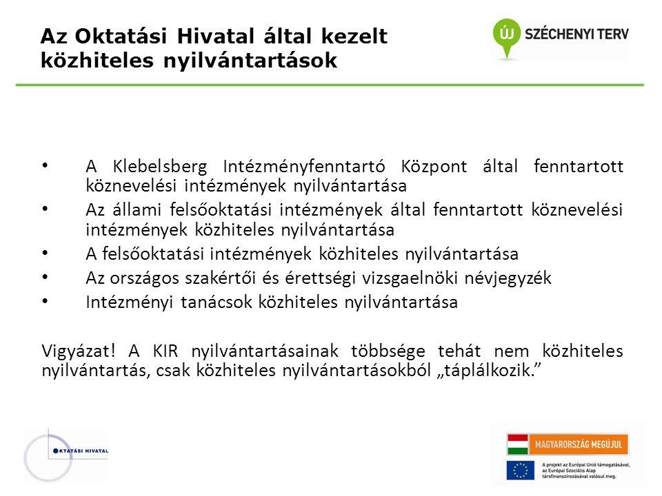 A Klebelsberg Intézményfenntartó Központ által fenntartott köznevelési intézmények nyilvántartása Az állami felsőoktatási intézmények által fenntartot