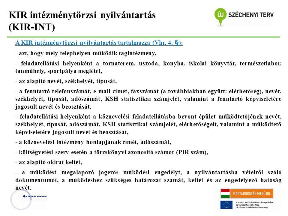 KIR intézménytörzsi nyilvántartás (KIR-INT) A KIR intézménytörzsi nyilvántartás tartalmazza (Vhr. 4. §): - azt, hogy mely telephelyen működik tagintéz