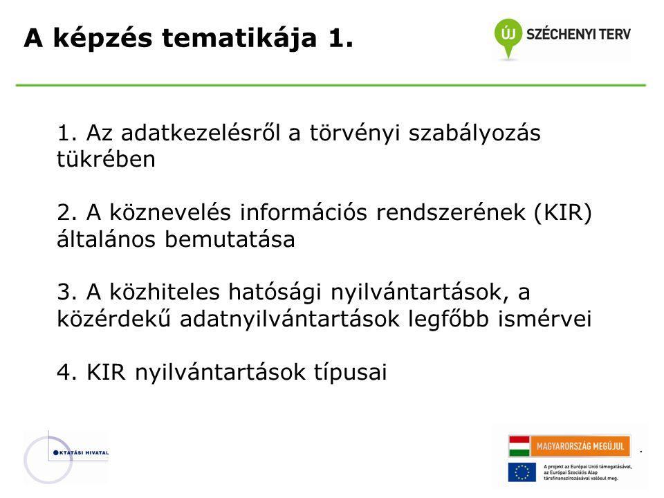 . 1. Az adatkezelésről a törvényi szabályozás tükrében 2. A köznevelés információs rendszerének (KIR) általános bemutatása 3. A közhiteles hatósági ny
