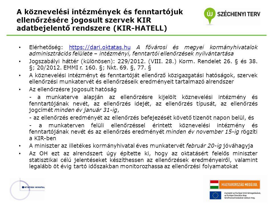 Elérhetőség: https://dari.oktatas.hu A fővárosi és megyei kormányhivatalok adminisztrációs felülete – intézményi, fenntartói ellenőrzések nyilvántartásahttps://dari.oktatas.hu Jogszabályi háttér (különösen): 229/2012.