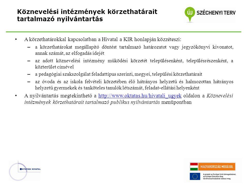 Köznevelési intézmények körzethatárait tartalmazó nyilvántartás A körzethatárokkal kapcsolatban a Hivatal a KIR honlapján közzéteszi: – a körzethatáro