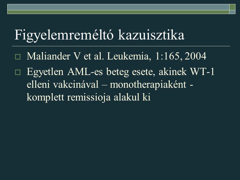 Figyelemreméltó kazuisztika  Maliander V et al. Leukemia, 1:165, 2004  Egyetlen AML-es beteg esete, akinek WT-1 elleni vakcinával – monotherapiaként