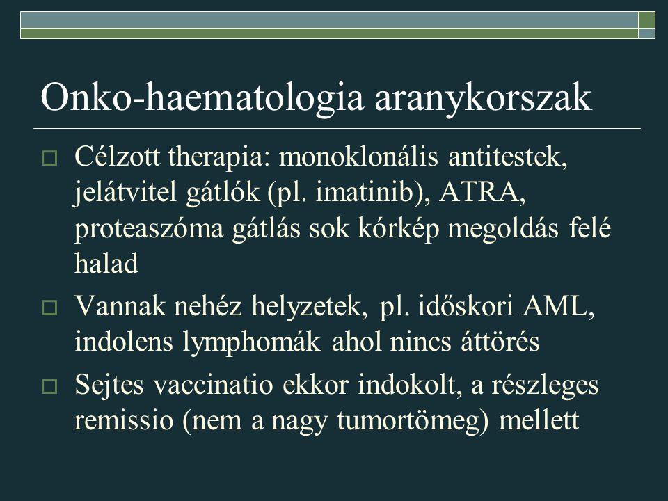 Onko-haematologia aranykorszak  Célzott therapia: monoklonális antitestek, jelátvitel gátlók (pl. imatinib), ATRA, proteaszóma gátlás sok kórkép mego