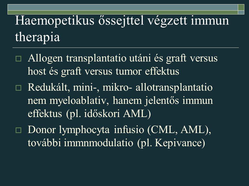 Haemopetikus őssejttel végzett immun therapia  Allogen transplantatio utáni és graft versus host és graft versus tumor effektus  Redukált, mini-, mikro- allotransplantatio nem myeloablativ, hanem jelentős immun effektus (pl.