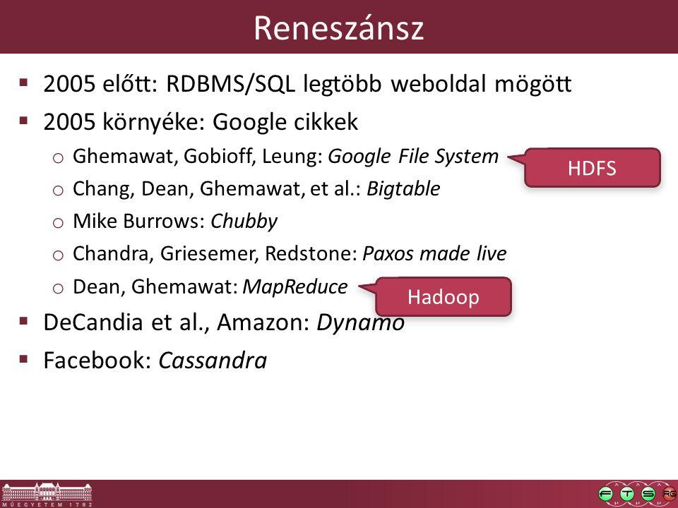 Reneszánsz  2005 előtt: RDBMS/SQL legtöbb weboldal mögött  2005 környéke: Google cikkek o Ghemawat, Gobioff, Leung: Google File System o Chang, Dean, Ghemawat, et al.: Bigtable o Mike Burrows: Chubby o Chandra, Griesemer, Redstone: Paxos made live o Dean, Ghemawat: MapReduce  DeCandia et al., Amazon: Dynamo  Facebook: Cassandra HDFS Hadoop