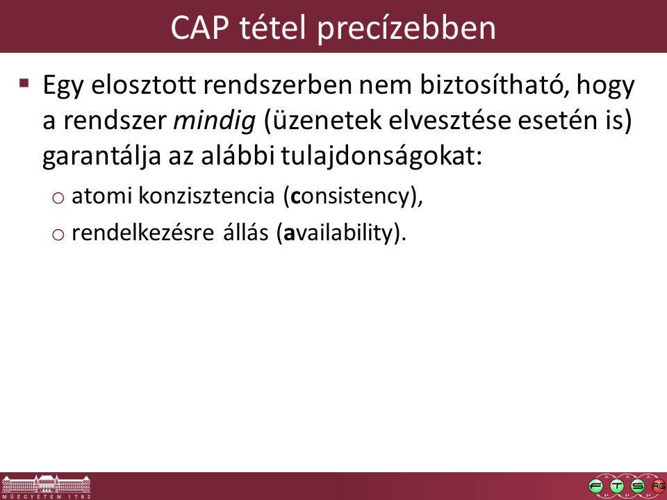 CAP tétel precízebben  Egy elosztott rendszerben nem biztosítható, hogy a rendszer mindig (üzenetek elvesztése esetén is) garantálja az alábbi tulajdonságokat: o atomi konzisztencia (consistency), o rendelkezésre állás (availability).