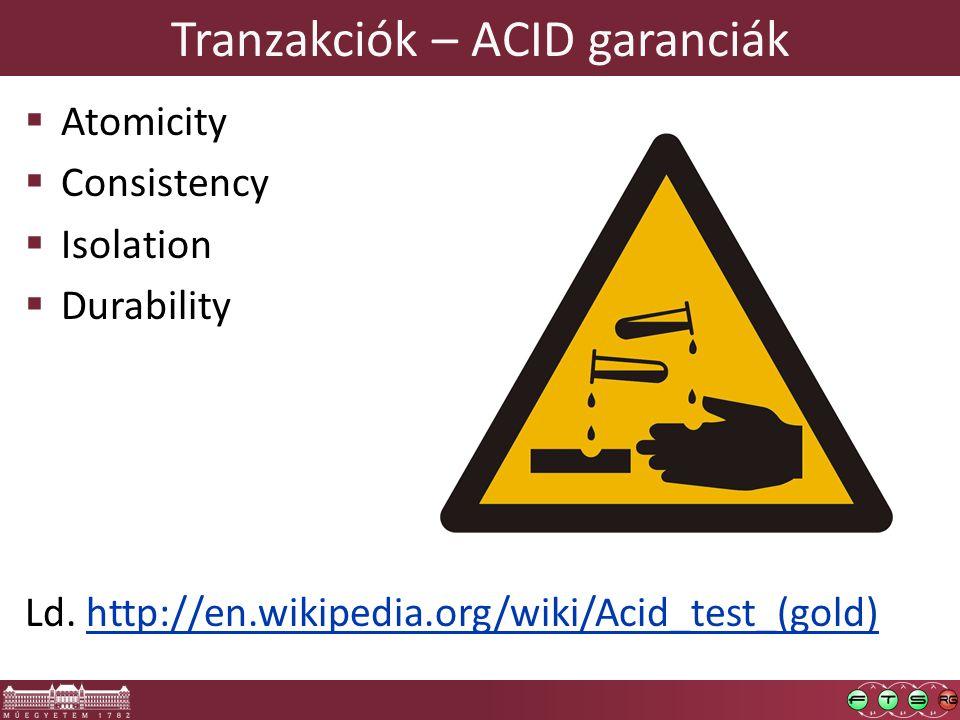 Tranzakciók – ACID garanciák  Atomicity  Consistency  Isolation  Durability Ld.