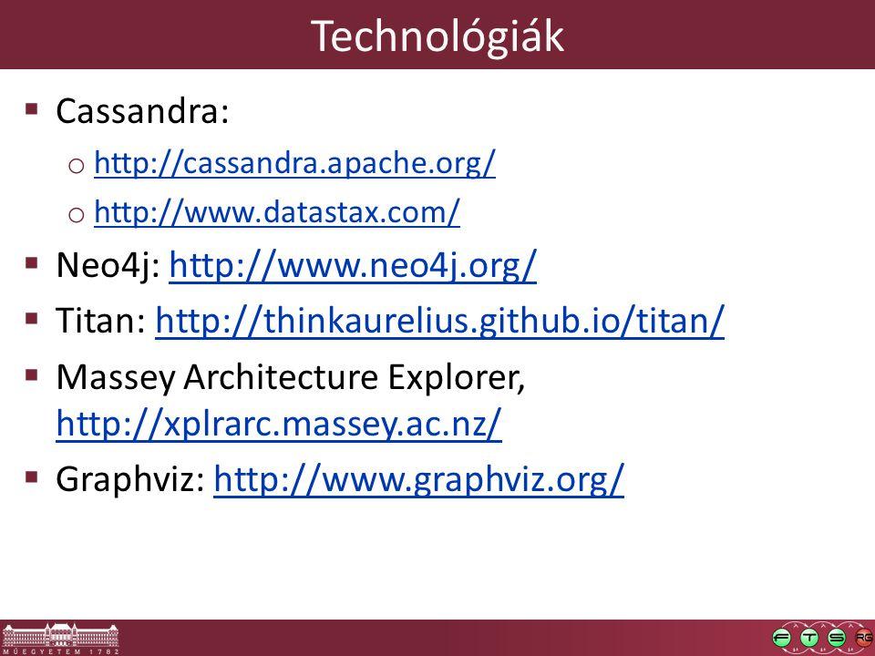 Technológiák  Cassandra: o http://cassandra.apache.org/ http://cassandra.apache.org/ o http://www.datastax.com/ http://www.datastax.com/  Neo4j: http://www.neo4j.org/http://www.neo4j.org/  Titan: http://thinkaurelius.github.io/titan/http://thinkaurelius.github.io/titan/  Massey Architecture Explorer, http://xplrarc.massey.ac.nz/ http://xplrarc.massey.ac.nz/  Graphviz: http://www.graphviz.org/http://www.graphviz.org/