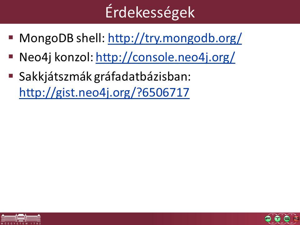 Érdekességek  MongoDB shell: http://try.mongodb.org/http://try.mongodb.org/  Neo4j konzol: http://console.neo4j.org/http://console.neo4j.org/  Sakkjátszmák gráfadatbázisban: http://gist.neo4j.org/?6506717 http://gist.neo4j.org/?6506717