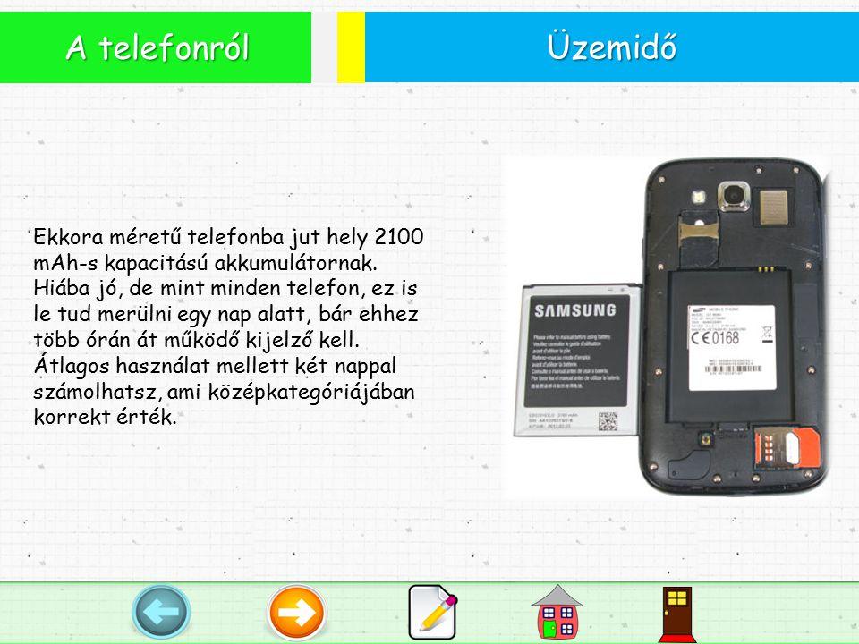 Üzemidő A telefonról Ekkora méretű telefonba jut hely 2100 mAh-s kapacitású akkumulátornak.