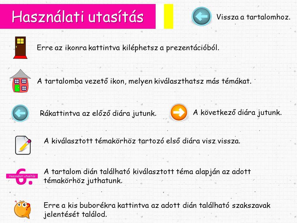 Használati utasítás Erre az ikonra kattintva kiléphetsz a prezentációból.