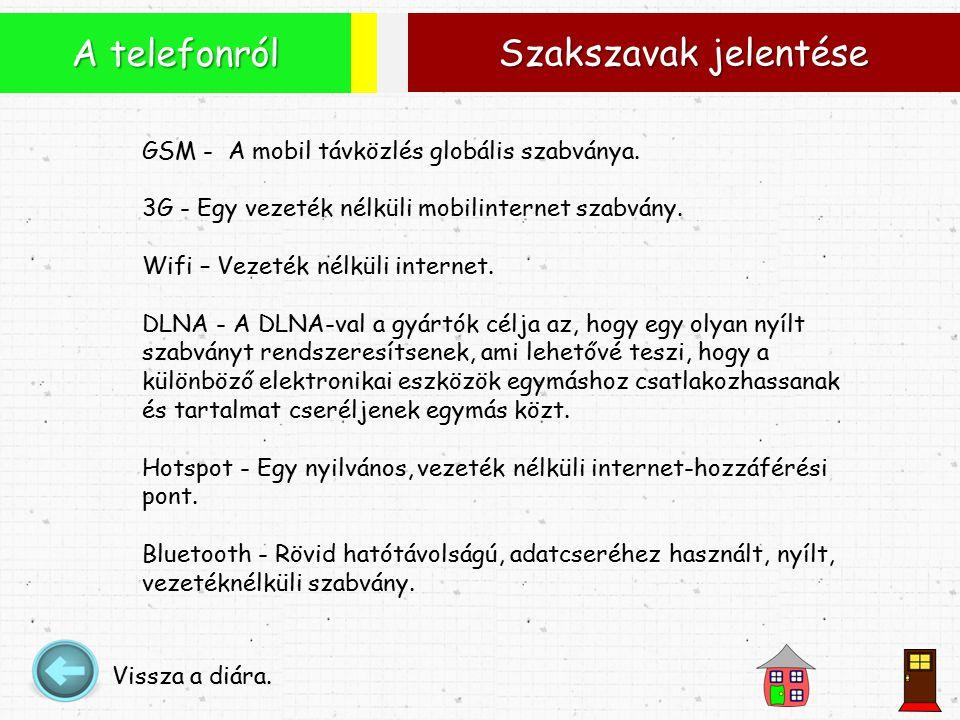 Szakszavak jelentése A telefonról Vissza a diára. GSM - A mobil távközlés globális szabványa.
