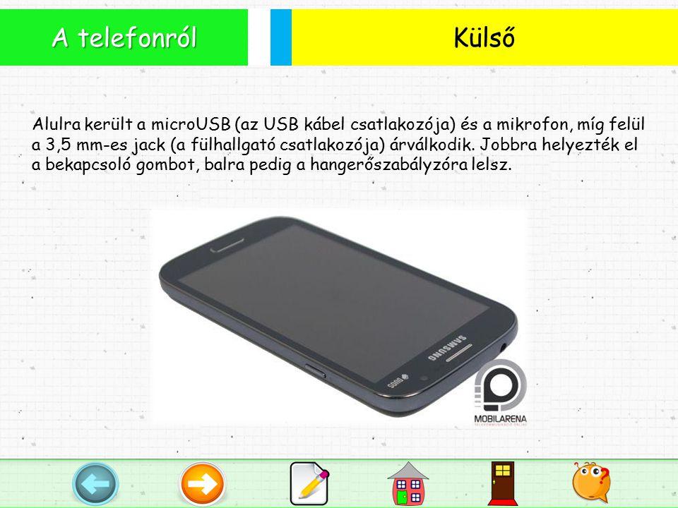 Külső A telefonról Alulra került a microUSB (az USB kábel csatlakozója) és a mikrofon, míg felül a 3,5 mm-es jack (a fülhallgató csatlakozója) árválkodik.