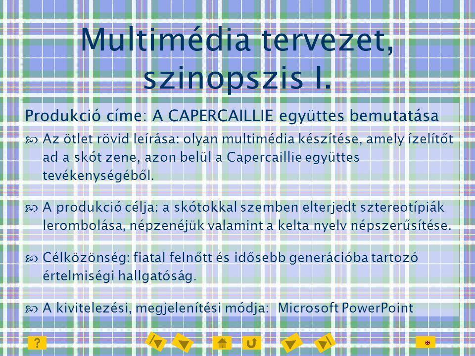  Multimédia tervezet, szinopszis I. Produkció címe: A CAPERCAILLIE együttes bemutatása  Az ötlet rövid leírása: olyan multimédia készítése, amely íz