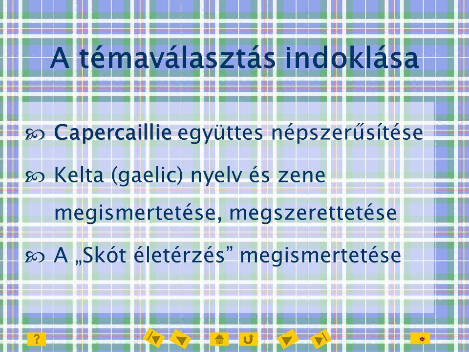 """ A témaválasztás indoklása  Capercaillie  Capercaillie együttes népszerűsítése  Kelta (gaelic) nyelv és zene megismertetése, megszerettetése  A """""""