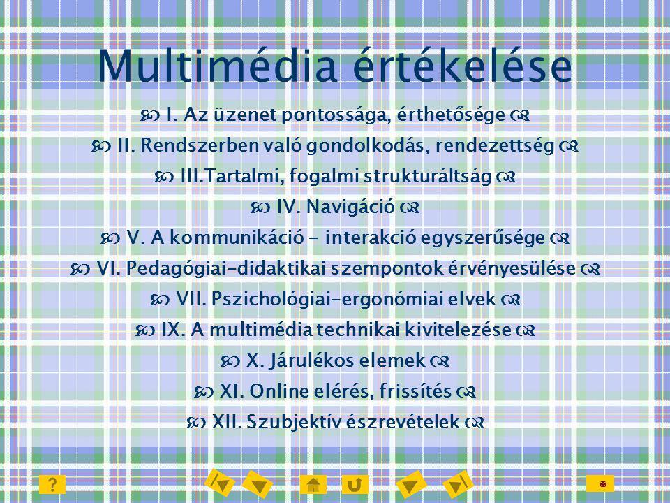  Multimédia értékelése  I. Az üzenet pontossága, érthetősége   II. Rendszerben való gondolkodás, rendezettség   III.Tartalmi, fogalmi strukturál