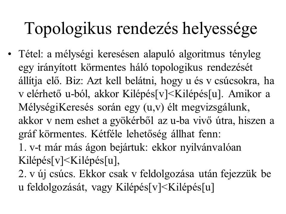 Topologikus rendezés helyessége Tétel: a mélységi keresésen alapuló algoritmus tényleg egy irányított körmentes háló topologikus rendezését állítja el