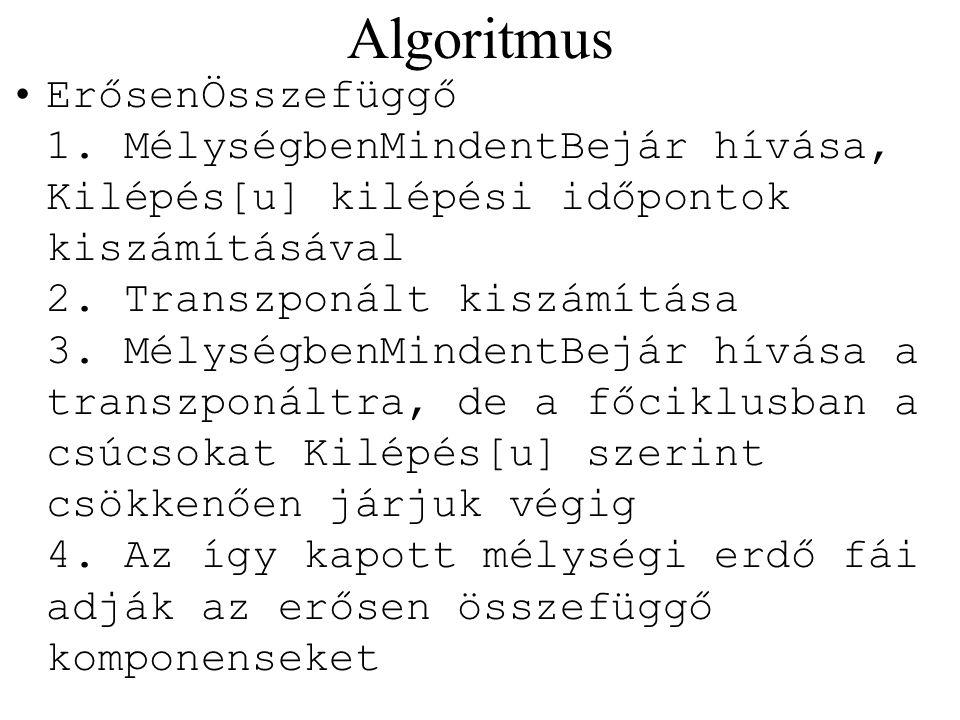 Algoritmus ErősenÖsszefüggő 1. MélységbenMindentBejár hívása, Kilépés[u] kilépési időpontok kiszámításával 2. Transzponált kiszámítása 3. MélységbenMi