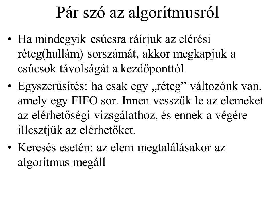 Megjegyzések Az algoritmus előállít egy mélységi erdőt.