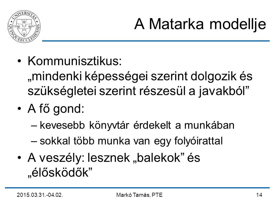 """2015.03.31.-04.02. Markó Tamás, PTE 14 A Matarka modellje Kommunisztikus: """"mindenki képességei szerint dolgozik és szükségletei szerint részesül a jav"""