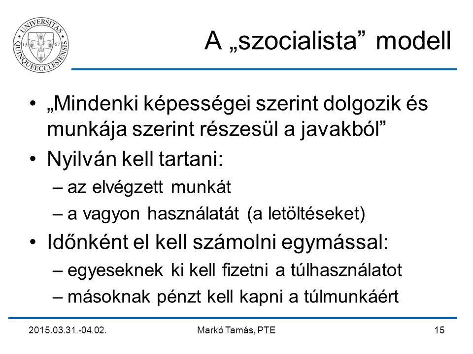 """2015.03.31.-04.02. Markó Tamás, PTE 15 A """"szocialista"""" modell """"Mindenki képességei szerint dolgozik és munkája szerint részesül a javakból"""" Nyilván ke"""