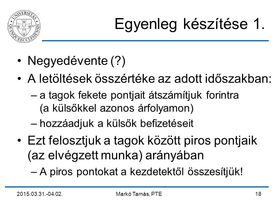 2015.03.31.-04.02. Markó Tamás, PTE 18 Egyenleg készítése 1. Negyedévente (?) A letöltések összértéke az adott időszakban: –a tagok fekete pontjait át