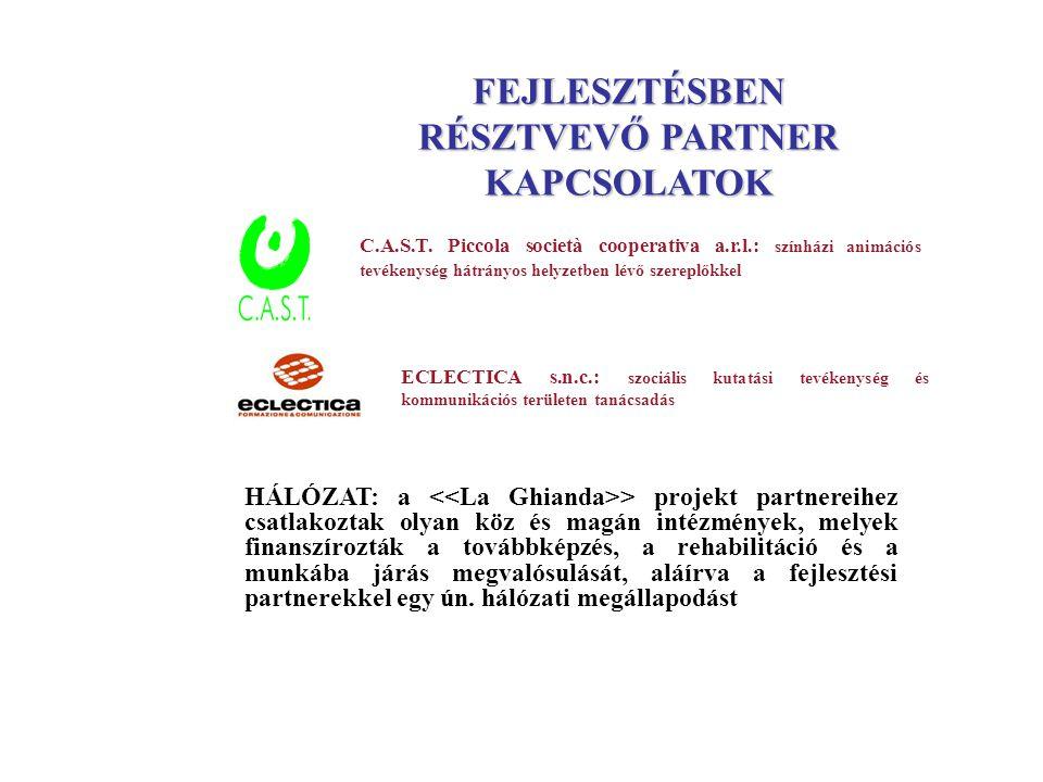 C.A.S.T. Piccola società cooperativa a.r.l.: színházi animációs tevékenység hátrányos helyzetben lévő szereplőkkel ECLECTICA s.n.c.: szociális kutatás