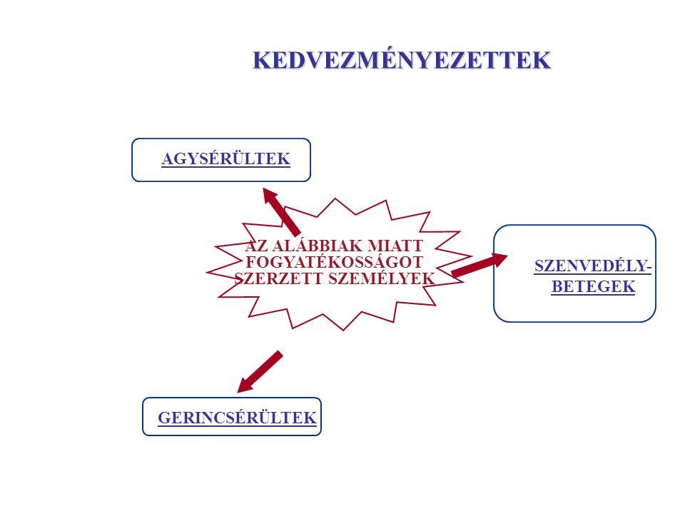 AGYSÉRÜLTEK GERINCSÉRÜLTEK SZENVEDÉLY- BETEGEK AZ ALÁBBIAK MIATT FOGYATÉKOSSÁGOT SZERZETT SZEMÉLYEK KEDVEZMÉNYEZETTEK