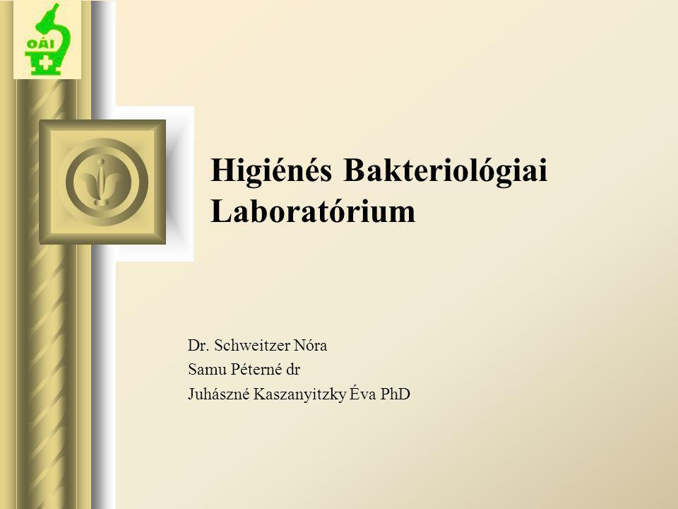 Higiénés Bakteriológiai Laboratórium Dr. Schweitzer Nóra Samu Péterné dr Juhászné Kaszanyitzky Éva PhD