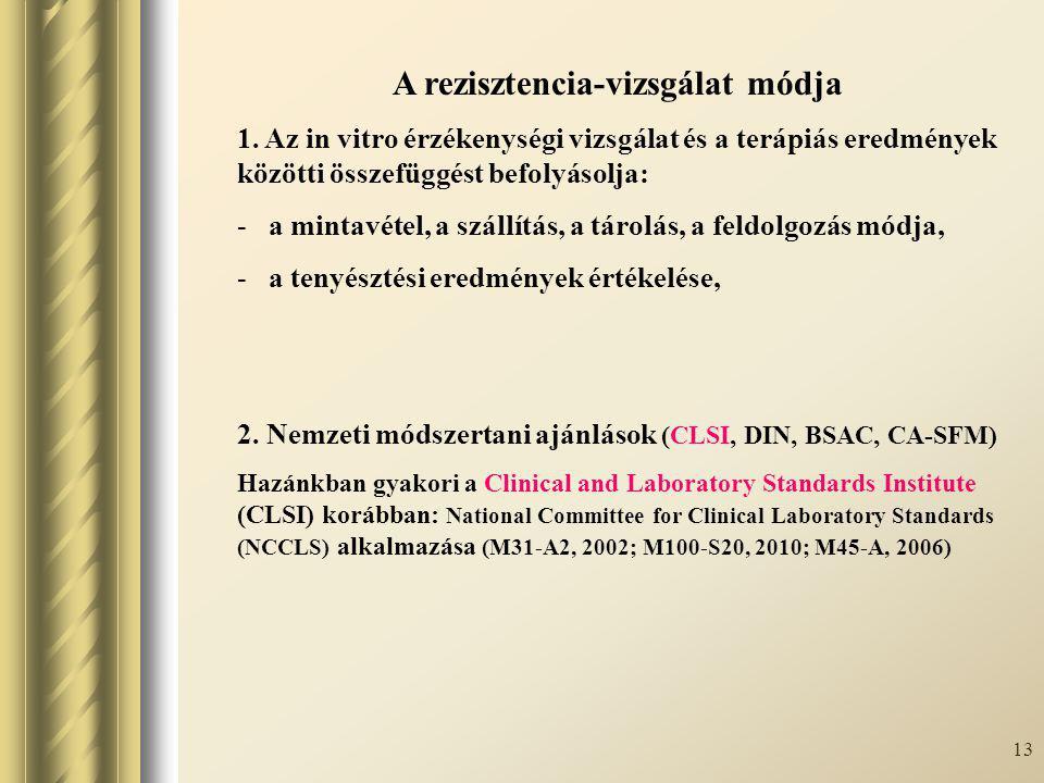 13 A rezisztencia-vizsgálat módja 1. Az in vitro érzékenységi vizsgálat és a terápiás eredmények közötti összefüggést befolyásolja: - a mintavétel, a