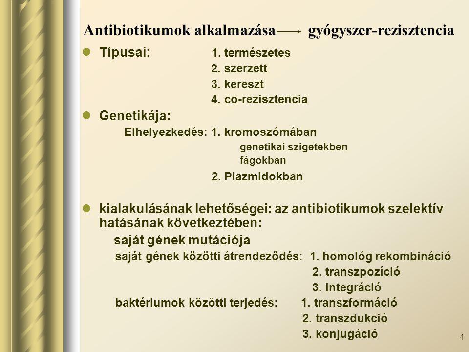 5 Rezisztencia mechanizmusok Megváltozik az antibiotikum támadáspontja (targethely- változás) (pl.:riboszóma fehérjék metilálása-MLS B -rezisztencia; DNS-gyrase: quinolonok; PBP2a termelés: oxacillin rezisztencia, stb.) A baktériumsejtben nem alakul ki hatékony koncentráció - a bejutás feltételei csökkennek (porin csatornácskák szerkezete/száma csökken–cephalosporin, polymyxin, aminoglycosidok) - a bejutott hatóanyag eltávolítása fokozódik (efflux-mechanizmus-tetracyclinek, kinolonok, makrolidok) A baktériumok az antibiotikumot enzimek segítségével hatástalanítják (ß-laktamáz, acetil-, adenil-, foszforilil-, nucleotidiltranszferáz stb.) A baktériumok változtatnak azon az anyagcsere-lépésen, amelyre az antibiotikum hat (fokozott DHPS-termelés-szulfonamidok, DHFR-trimetoprim ellen, stb.) A baktériumok nem végzik el azt a változtatást az antibiotikumon, amelytől aktívvá válna (metronidazol csak redukált formában hat)