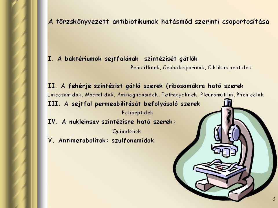 7 Csoport Hatásspektrum Hatóanyag