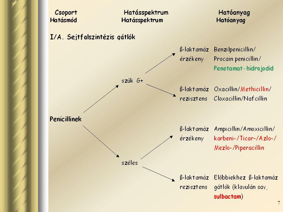 8 Ciklikus peptidekszűk G+ Bacitracin Csoport Hatásspektrum Hatóanyag