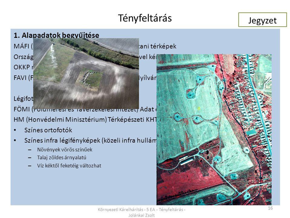 Tényfeltárás 16 Környezeti Kárelhárítás - 5 EA - Tényfeltárás - Jolánkai Zsolt 1. Alapadatok begyűjtése MÁFI (magyar Állami Földtani Intézet) földtani