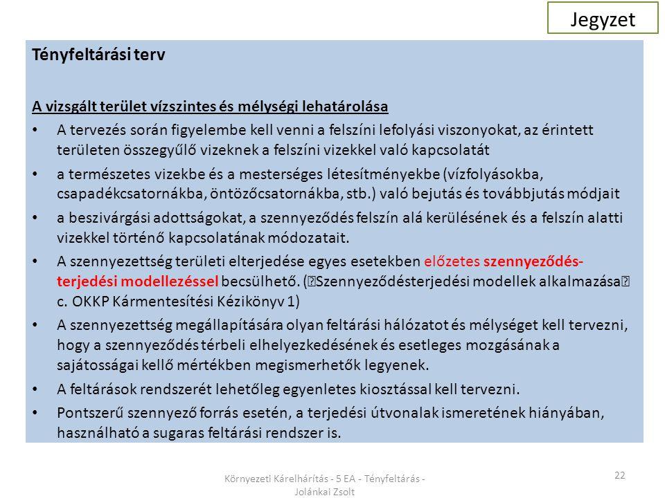 22 Környezeti Kárelhárítás - 5 EA - Tényfeltárás - Jolánkai Zsolt Tényfeltárási terv A vizsgált terület vízszintes és mélységi lehatárolása A tervezés során figyelembe kell venni a felszíni lefolyási viszonyokat, az érintett területen összegyűlő vizeknek a felszíni vizekkel való kapcsolatát a természetes vizekbe és a mesterséges létesítményekbe (vízfolyásokba, csapadékcsatornákba, öntözőcsatornákba, stb.) való bejutás és továbbjutás módjait a beszivárgási adottságokat, a szennyeződés felszín alá kerülésének és a felszín alatti vizekkel történő kapcsolatának módozatait.