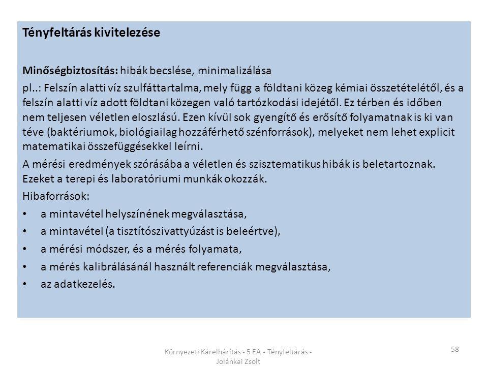 58 Környezeti Kárelhárítás - 5 EA - Tényfeltárás - Jolánkai Zsolt Tényfeltárás kivitelezése Minőségbiztosítás: hibák becslése, minimalizálása pl..: Fe