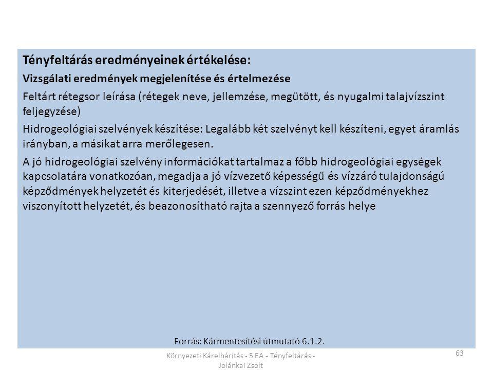 63 Környezeti Kárelhárítás - 5 EA - Tényfeltárás - Jolánkai Zsolt Tényfeltárás eredményeinek értékelése: Vizsgálati eredmények megjelenítése és értelmezése Feltárt rétegsor leírása (rétegek neve, jellemzése, megütött, és nyugalmi talajvízszint feljegyzése) Hidrogeológiai szelvények készítése: Legalább két szelvényt kell készíteni, egyet áramlás irányban, a másikat arra merőlegesen.