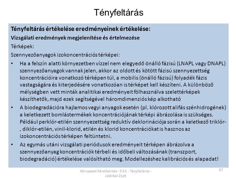 Tényfeltárás 67 Környezeti Kárelhárítás - 5 EA - Tényfeltárás - Jolánkai Zsolt Tényfeltárás értékelése eredményeinek értékelése: Vizsgálati eredmények megjelenítése és értelmezése Térképek: Szennyezőanyagok izokoncentrációs térképei: Ha a felszín alatti környezetben vízzel nem elegyedő önálló fázisú (LNAPL vagy DNAPL) szennyezőanyagok vannak jelen, akkor az oldott és kötött fázisú szennyezettség koncentrációira vonatkozó térképen túl, a mobilis (önálló fázisú) folyadék fázis vastagságára és kiterjedésére vonatkozóan is térképet kell készíteni.