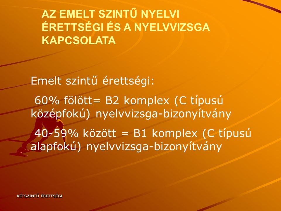 KÉTSZINTŰ ÉRETTSÉGI Emelt szintű érettségi: 60% fölött= B2 komplex (C típusú középfokú) nyelvvizsga-bizonyítvány 40-59% között = B1 komplex (C típusú alapfokú) nyelvvizsga-bizonyítvány AZ EMELT SZINTŰ NYELVI ÉRETTSÉGI ÉS A NYELVVIZSGA KAPCSOLATA