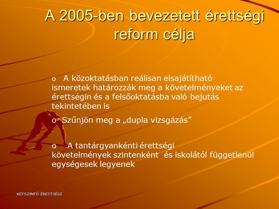 """KÉTSZINTŰ ÉRETTSÉGI A 2005-ben bevezetett érettségi reform célja o A közoktatásban reálisan elsajátítható ismeretek határozzák meg a követelményeket az érettségin és a felsőoktatásba való bejutás tekintetében is o Szűnjön meg a """"dupla vizsgázás o A tantárgyankénti érettségi követelmények szintenként és iskolától függetlenül egységesek legyenek"""