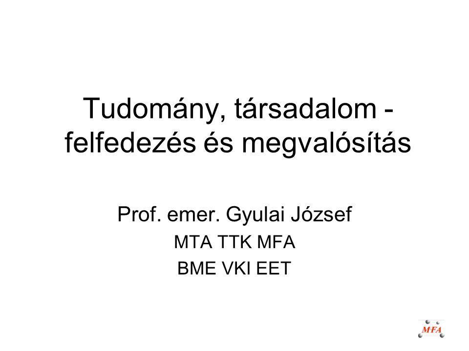 Tudomány, társadalom - felfedezés és megvalósítás Prof. emer. Gyulai József MTA TTK MFA BME VKI EET