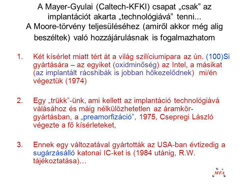 """A Mayer-Gyulai (Caltech-KFKI) csapat """"csak"""" az implantációt akarta """"technológiává"""" tenni... A Moore-törvény teljesüléséhez (amiről akkor még alig besz"""