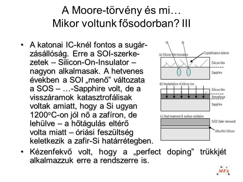 A Moore-törvény és mi… Mikor voltunk fősodorban? III A katonai IC-knél fontos a sugár- zásállóság. Erre a SOI-szerke- zetek – Silicon-On-Insulator – n